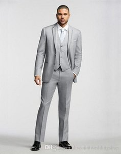 Customize Light Grey Groom Tuxedos Notch Lapel Man Prom Business Suit Wedding Party Suits (Jacket+Pants+Vest+Tie) J133