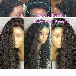 Une pré plumé 360 Lace Frontal perruque Cap Brésilien Curly Frontal naturel Hairline Short 360 en dentelle pleine perruque (12 pouces, 130%)