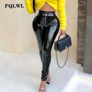 FQLWL lattice Faux Pu Pantaloni in pelle Donna Pantaloni spinge verso l'alto vita alta scarni della matita autunno inverno nero sexy femminile