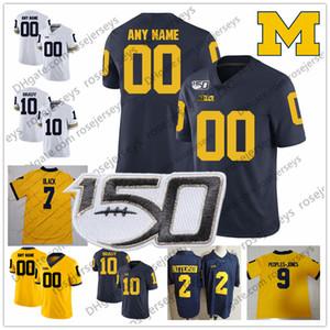 عرف ميشيغان ولفرينس 2019 كرة القدم أي اسم رقم جيرسي الأبيض الأزرق الداكن الأصفر Charbonnet برادي باترسون كولينز هدسون NCAA 150TH