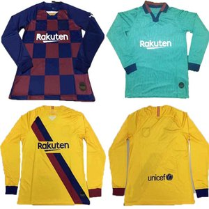 19 20 Barcelona home away Messi SUÁREZ Soccer Jeresey 2019 2020 Barcelona third blue ANSU FATI DE JONG GRIEZMANN Long sleeve Football shirt