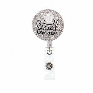 10шт Кристалл социальных работников выдвижной ID держатель значка для подарочных значков катушки