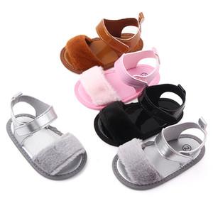 Summer Baby Girl Sandals Baby Kids Children Cute Plush Sandal Anti-slip PU Shoe Indoor Outdoor Princess Shoes