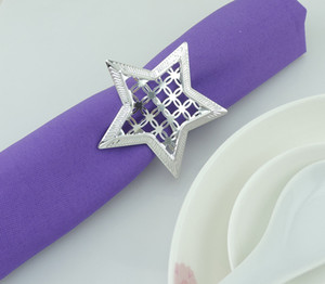 Décor étoile serviette de table Anneaux évider en métal Anneaux Anniversaires Mariages Napkin Rings Dinner Party Décoration serviette Boucle BH3170 TQQ