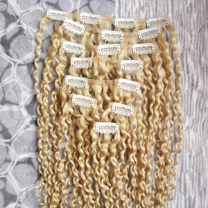 100g mongol Kinky Curly Weave Remy pinza de pelo en extensiones de cabello humano grueso 8pcs / set