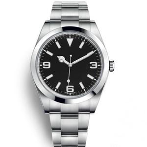 Top Luxury Watch Explorer quadrante nero in acciaio inossidabile orologio automatico Data casuale Reloj De Lujo Montre Relojes De Marca orologi da polso