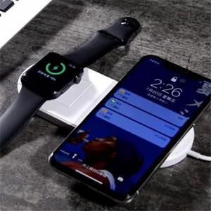 Para iphone x 8 s8 mais 2 em 1 qi inteligente telefone relógio sem fio carregador rápido de carregamento com caixa de varejo