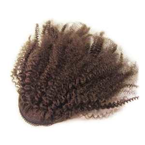 """Hot New Product 12"""" To 24"""" Kinky Curly Ponytail Hair Extension Human Hair Wrap Ponytail Hair Piece 100g Dark Brown Natural Black Blonde"""