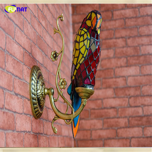Fumat papagaios arandela lâmpadas de parede de vidro mancha decoração de parede para sala de estar da escada tiffany art papagaio sombra de parede de vidro lâmpadas