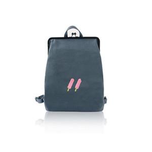 Yizi lona mochila simples feminino mini-mochila estudante de arte saco do bordado com Metal Frame fecho de ouro Meninas Adolescentes mochila