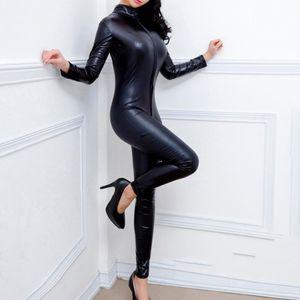جديد جلدية وصول جديد مثير المرأة بذلة CROTCHLESS Bosysuit مطاط BODYSUIT ازياء الدعاوى الملابس المطاط catsuits القط القطب الرقص CX200606