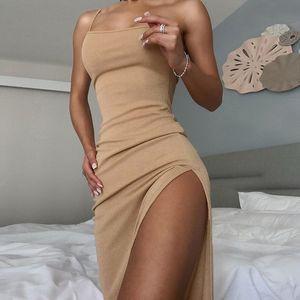 2020 Sexy Slim Bodycon Nightclub Dress Summer Slim Women Backless Sleeveless Dress Thin Shoulder Strap Women High Split Ribbed Dress