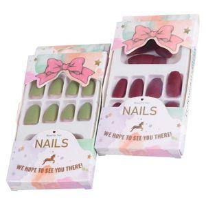 2 Boxes 48PCS Fake Nail Tips Delicate False Nail Full Cover Fingernails Manicure Tools Art Stickers