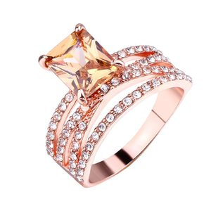 14 K subiu anéis de diamante de ouro praça de luxo designer de jóias anéis de Casamento Anel de noivado de Cristal Austríaco para as mulheres