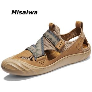Misalwa cuero cuero cuero anti-colisión malla sandalias planas casual al aire libre moderno hombres zapatos zapatillas de verano zapatillas de verano cerca del dedo del pie