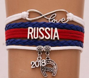 Drop Shipping Infinity Love Russia France Russia 2018 world cup Bracelet & Bangles Leather National Flag Bracelet Jewelry Gift For Women Men