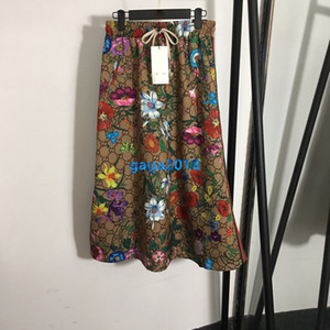 piste femmes à haut de gamme filles une ligne jupe midi sur tout interverrouillage lettre motif floral robe vintage jupes robes de luxe de design de mode