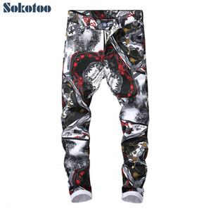 Sokotoo Erkek moda 3D model dar kesim düz kot baskılı Trendy siyah beyaz renkli çizim streyç pantsMX190905
