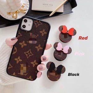 Cuero de caja del teléfono celular de Mickey con el sostenedor para el iphone 11 Pro XR max 7 8 lujo Estuches de diseñador