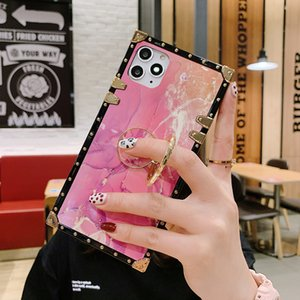 Luxury Design Square Plating Marble Back Shell Diamond Bracket Marble Case for iPhone 11 Pro SE 2020 6s 8 Plus Samsung S10 S9