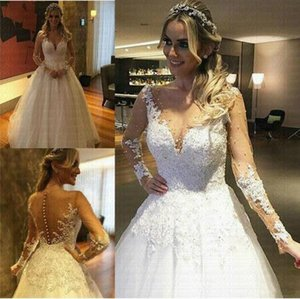Champagne Illusion Tulle Vestido De Noiva Sexy Dubai Arabic Wedding Dress Sheer See Through Back buttons Robe De Mariee Bridal Gown