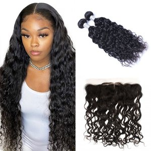 Malaysian Human Hair Water Wave with Frontal Pre Plucked 13*4 Lace Frontal Closure with 2 Bundles Virgin Hair Weave