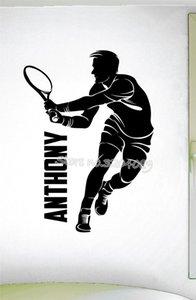 персонализированные мальчики тенниса этикета стена обычай Имя стикер стена тенниса Для мальчиков тренажерного зала номер Съемного декор Mural Art Wallpaper