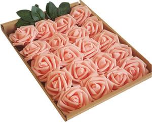 Flores Artificiales 20pcs Rosas rojo oscuro falsas para bricolaje boda Ramos Centros de mesa arreglos partido del hogar Decoración