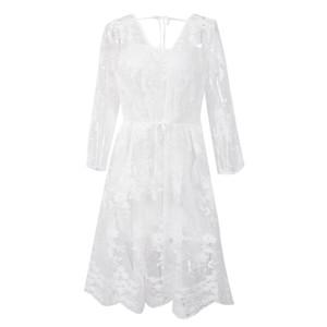 세련된 여성 드레스 여름 보헤미안 V 넥 저녁 긴 기하학 레이스 파티 캐주얼 비치 드레스 한 조각을 슬리브