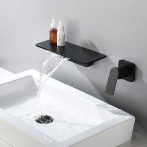 Wasserfall-Hahn-Matte Black Wand befestigte Badezimmer-Badewannen-Hahn Großes Regal Plattform Basin Wassermischer Qualität Tap