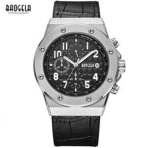 BAOGELA Cronógrafo para hombre Relojes de cuarzo Correa de cuero Army Sports Luminous Wristwatch para hombre 3Bar Waterproof 1805 Silver black