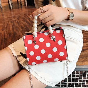 HANSOMFY pequenos sacos Mulheres Handbag pérola dot Messenger Bag Ombro Bloqueio Top Handle Vintage Jantar Clutch Purse 2019 MQ-05
