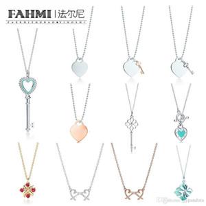 2019 925 Gümüş Charm Kalp şeklinde Anahtar kolye Hediye Kadınlar zarif kolye Clavicle Zinciri Rose Gold Kakma Zirkon TIF Ücretsiz Kargo