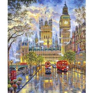 3D diy pintura cheia de diamantes transversal do ponto London Street imagem de diamantes bordados padrão de mosaico dom casa decoração paisagem