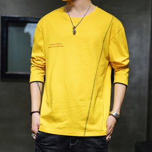 menslong sleeve T-shirt cotton round collar fake two-piece base shirt fashion casual autumn all-match student top
