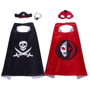 Capa de superhéroe de 27 pulgadas y máscara para niños Ultraman y Piratas Rey capa trajes de cosplay niño Halloween Navidad Cumpleaños favores de la fiesta