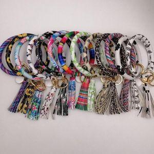 Cuoio portachiavi del polso del braccialetto Cinturino Chiusura con frange chiave catene chiave Leopard Girasole Bracciale Keies partito regalo 24 colori WY17Q