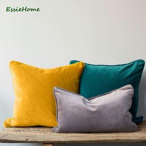 ESSIE HOME 15 색상 사용 가능한 2018 패션 색상 하이 엔드 고급 벨벳 쿠션 커버 베개 케이스 배관 베개 배관 쿠션 Y200103