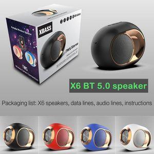 TWS X6 HIFI Blueteeth Speaker Portable Wireless Blueteeth 5.0 Stereo Sound soundbar FM TWS SD Card AUX Mini Wireless Speaker