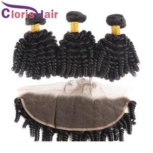 Frontal de encaje de oreja a oreja con paquetes Extensiones de cabello rizado rizado Cabello humano virginal peruano 13x4 Cierre frontal completo Afro Kinky Curly Weave