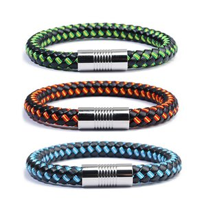 LOULEUR 21.5 cm Hot Sale Country Spain France Flag Rope Leather Bracelet Colorful Magnet Bracelets&Bangles Male Female Jewelry