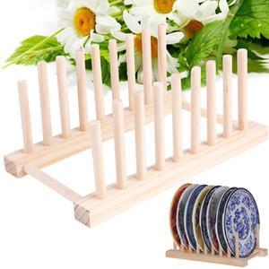 رفوف صفيحة من خشب الخيزران الصلب رفوف متعددة الأغراض Drainboard Kitchen Pot Lid Holder طبق Drain Dish Rack