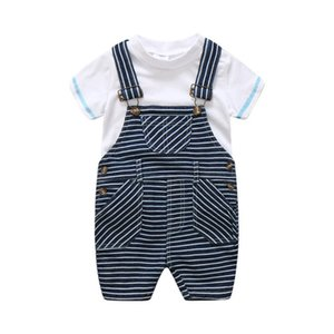 Infant Summer Designer Newborn Baby Boy 3pcs set Outfits Kids Trousers+hat Clothes 2021 White A2617 Clothes Boys Sets T-shirt+suspender Vjov