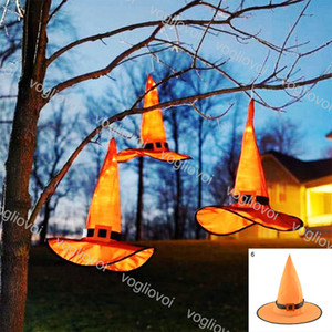 Halloween LED Glowing Witch Hat Wizard Witch Pointed Hat with LED Light Child Adult Masquerade Party Magic Witch Hat DHL