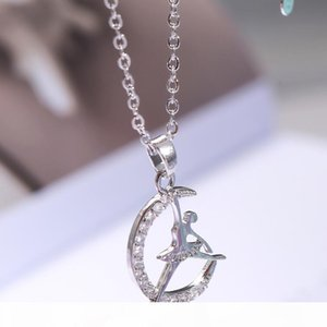 designer jewelry ballet girl pendant necklace moon shape ballet dancer pendant necklace for women hot fashion