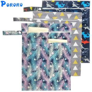 Reutilizable impermeable de la moda impresiones Pañal de tela Pañales seco mojado de doble bolsa de bolsillo Wet bolso de la manija Wetbags 30 * 40cm mayorista