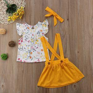 2018 Kids Baby Girls Summer Flying Sleeves Clothes Bow Flower Skirt Strap Suspender Yellow Headband Sunsuit Summer Cute Set