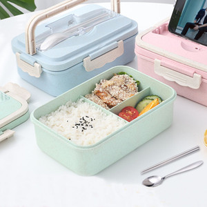 Paja de trigo caja de almuerzo de la manera creativa Microondas Vajilla tapa sellada envase de alimento de múltiples funciones del enrejado Bento Box duradero