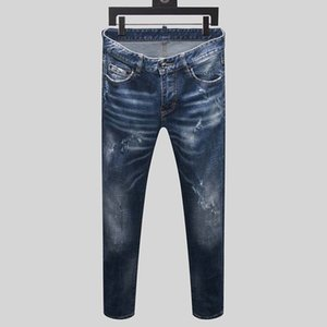 dsquared2 DSQ d2 mens jeans longo denim magro preto de luxo rasgado as calças a melhor versão da Marinha moda Itália marca bicicleta velha novos