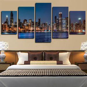 5 Painéis Impressão abstrato do poster de Chicago River Cityscape Cidade Nightscape Obras giclée Canvas Wall Art Canvas Oil Painting Wall Decor